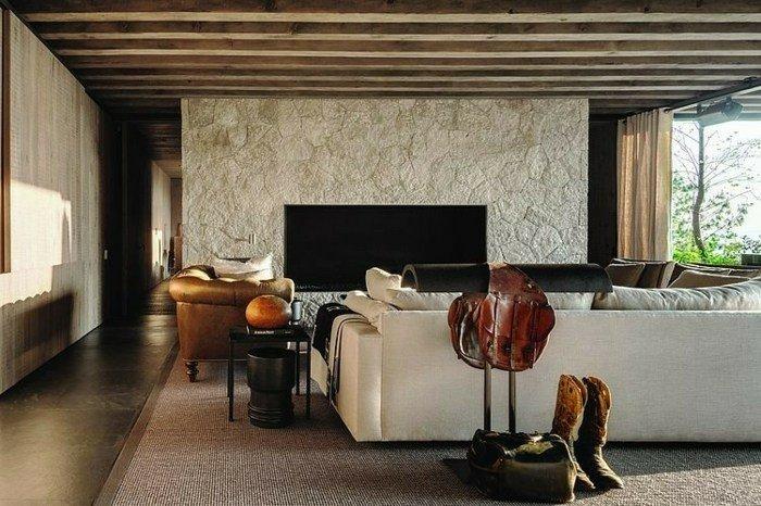 salon moderno techo vigas madera