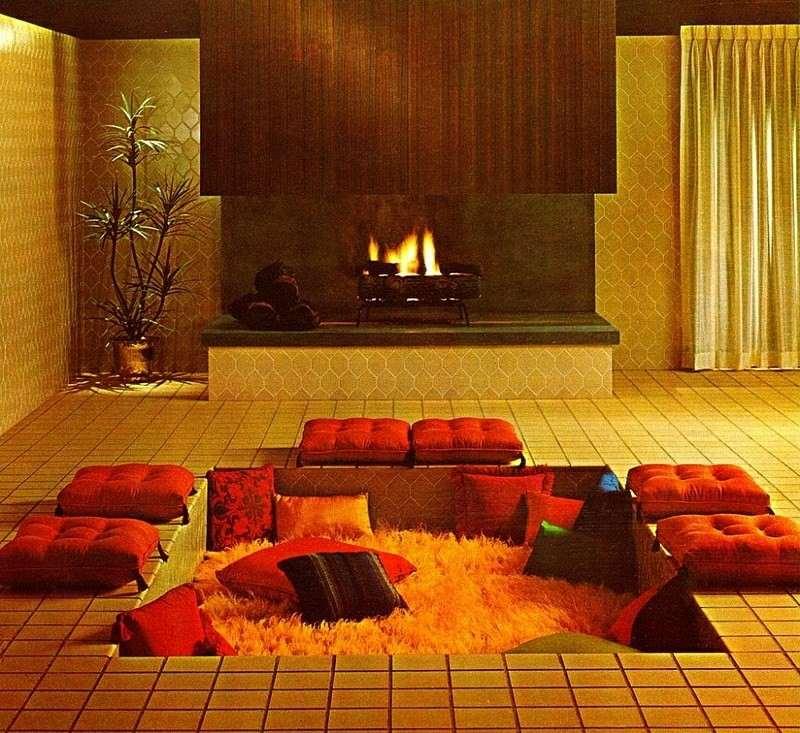 salones chimenea modernos cojines rojos ideas