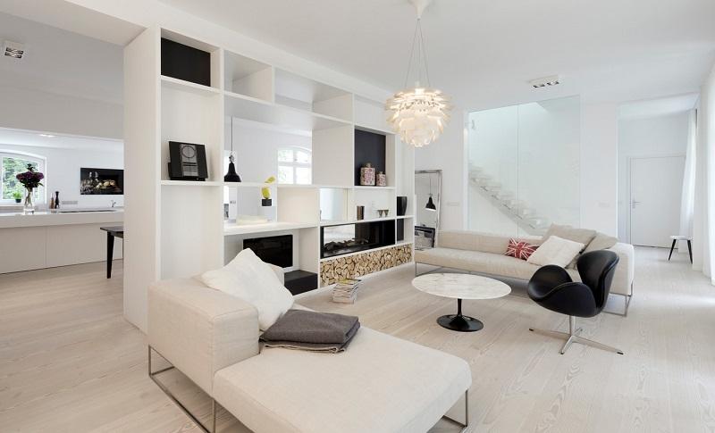 Salones con chimenea 65 ideas ardientes - Mueble para chimenea electrica ...