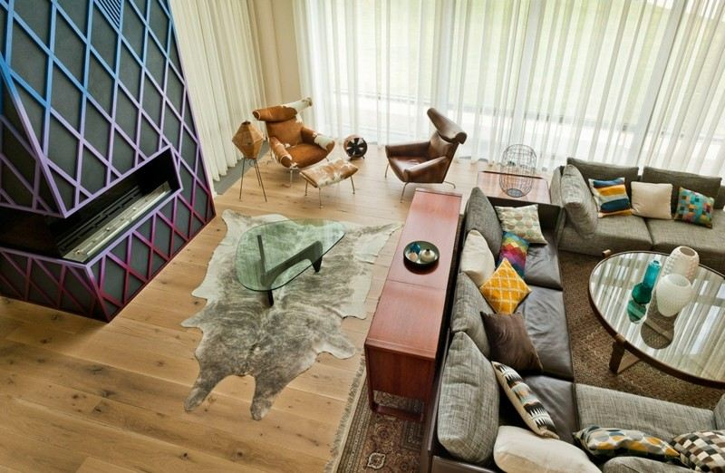 salones chimenea modernos estilo funky ideas