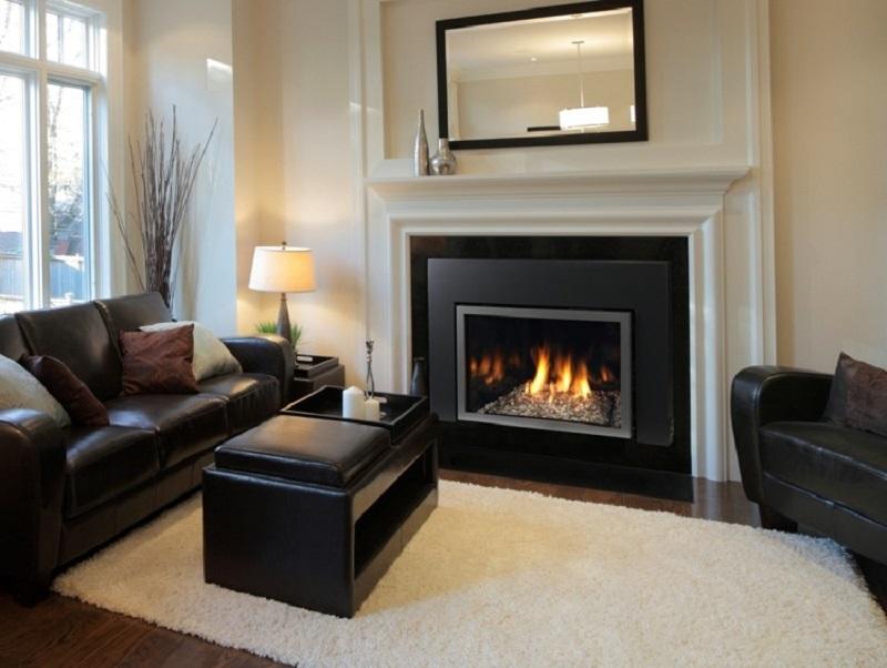 salones chimenea modernos muebles cuero ideas