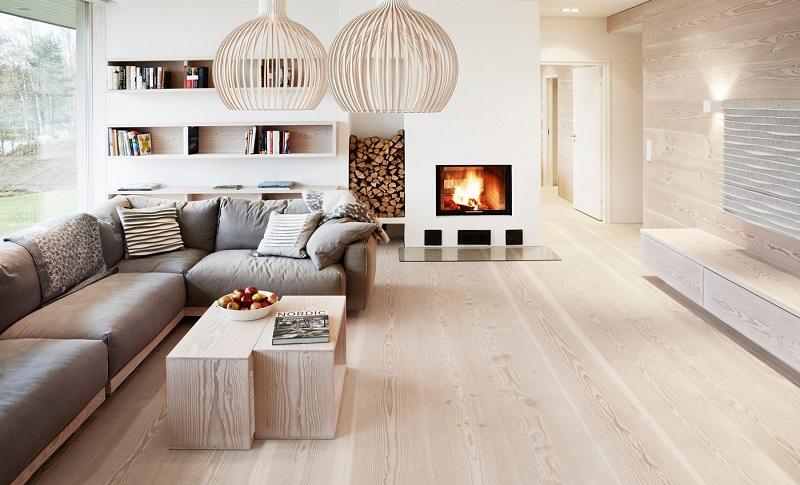salones chimenea modernos pared suelo madera ideas