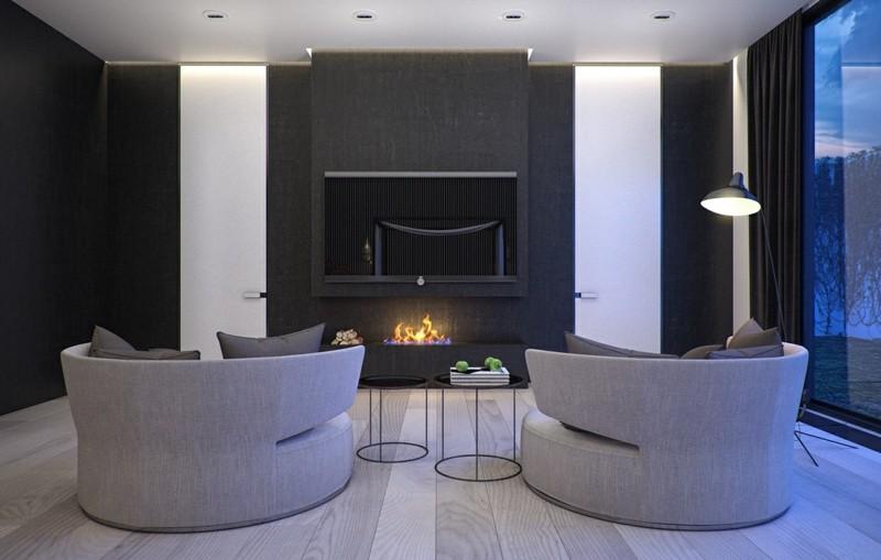 salones chimenea modernos sillones grices ideas