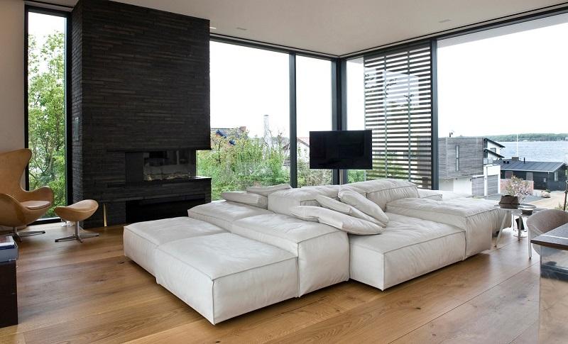 salones chimenea modernos sofa blanca chimenea negra ideas