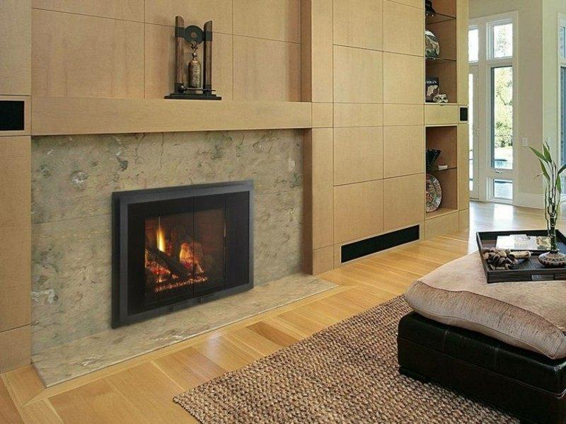 salones chimenea modernos taburete marmol ideas