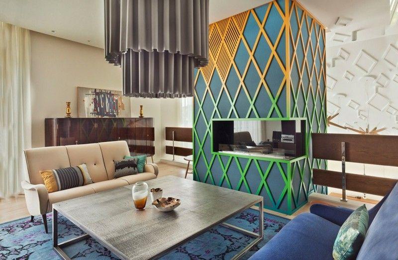 salones chimenea modernos verde amarillo ideas