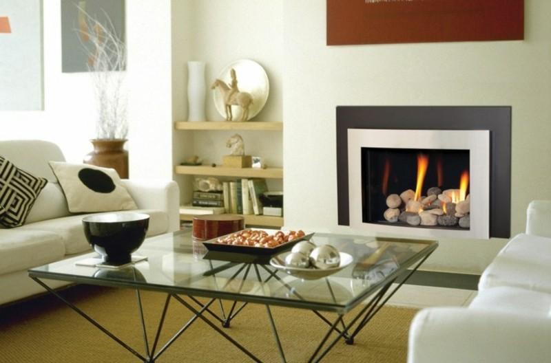 salones chimenea modernos mesa cristal ideas