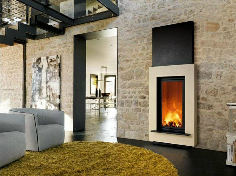 salones con chimenea modernos alfombra color mostaza ideas