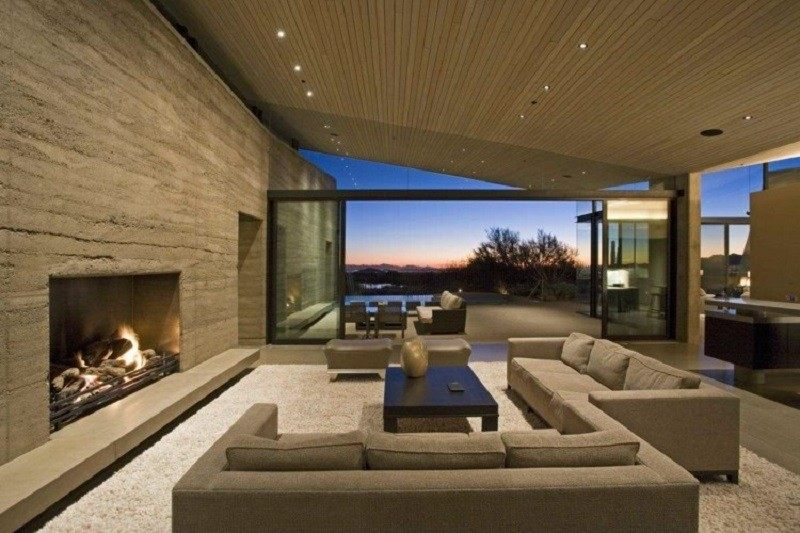 salones con chimenea modernos alfombra peluda ideas