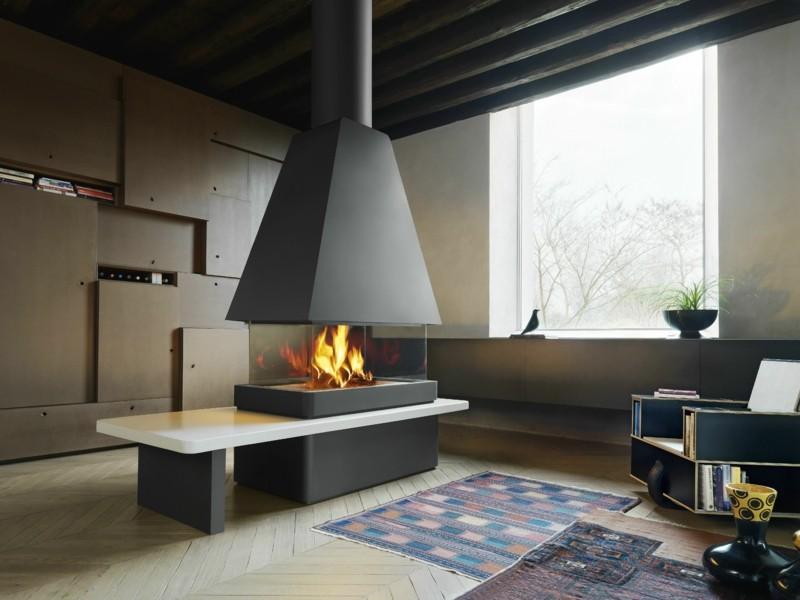 salones con chimenea modernos alfombra preciosa ideas