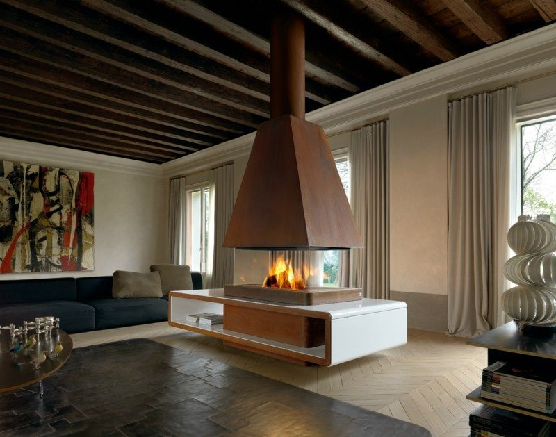 salones con chimenea modernos amplio ideas