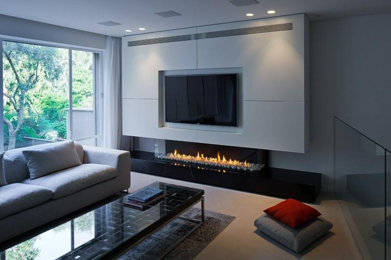 Salones con chimenea 65 ideas ardientes - Muebles de chimenea ...