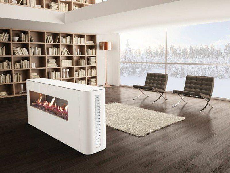 salones con chimenea modernos blanca estanterias ideas