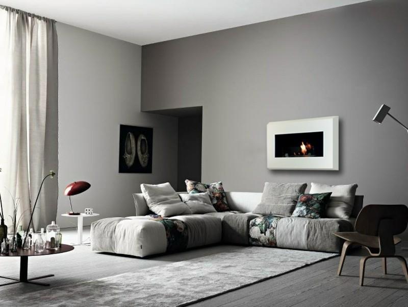 Salones con chimenea 65 ideas ardientes - Paredes salones modernos ...