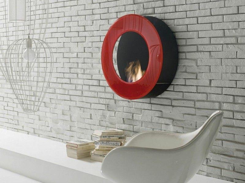 salones con chimenea modernos color rojo ideas