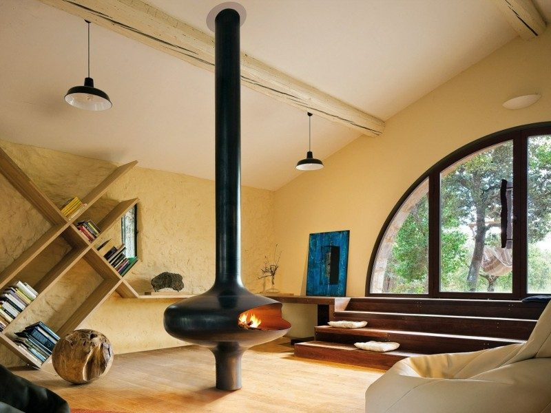salones chimenea modernos suelo techo ideas