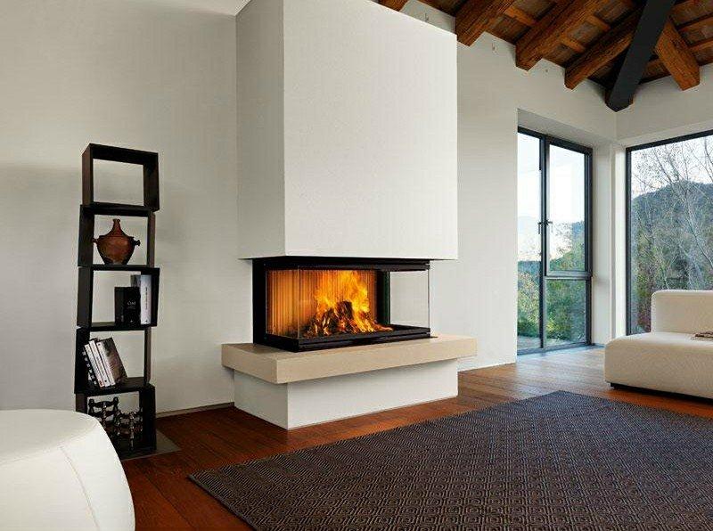 salones chimenea modernos estante madera precioso ideas