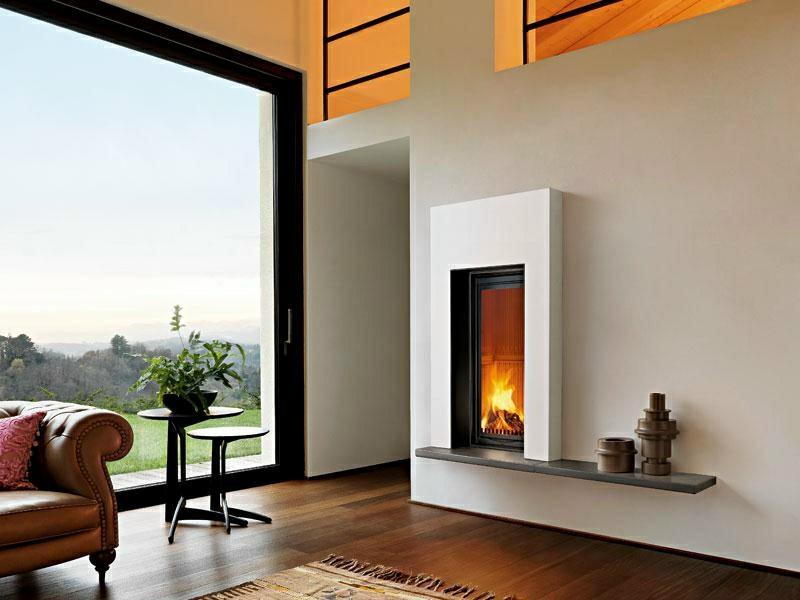 salones con chimenea modernos mesitas planatas ideas