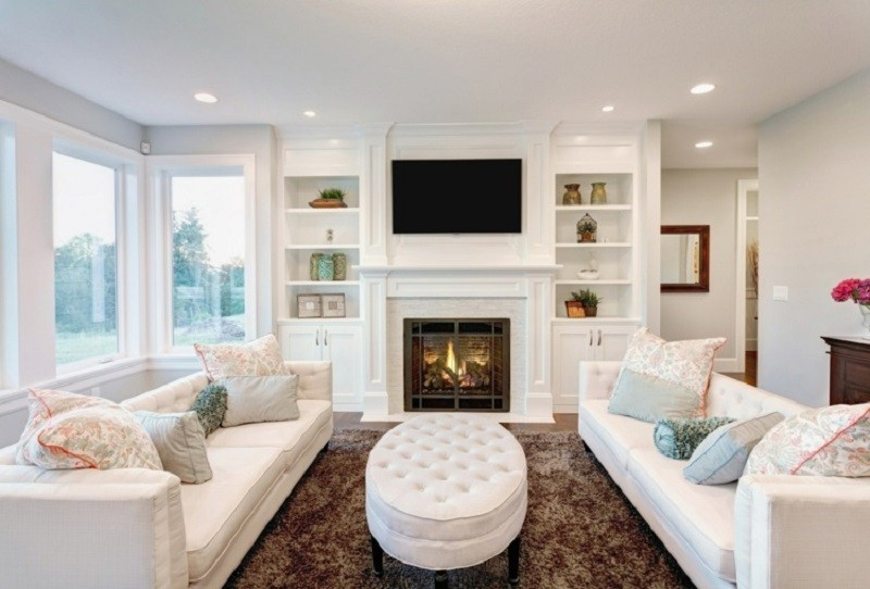 salones chimenea modernos muebles blancos ideas