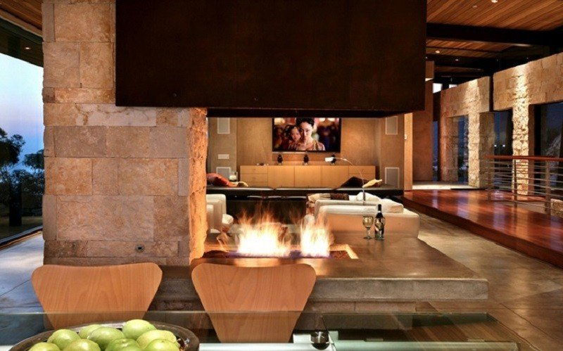 salones chimenea modernos muro piedra ideas