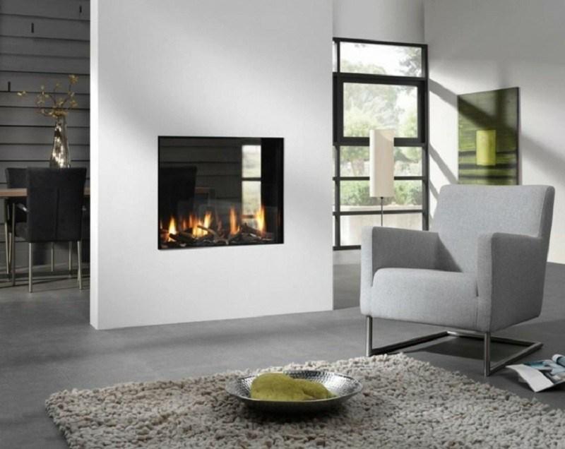 salones chimenea modernos pared blanca ideas