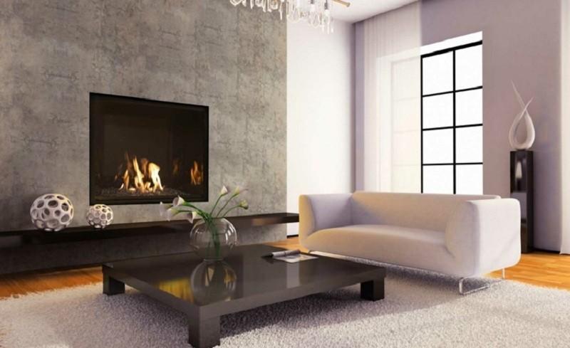 salones con chimenea modernos pared hormigon ideas