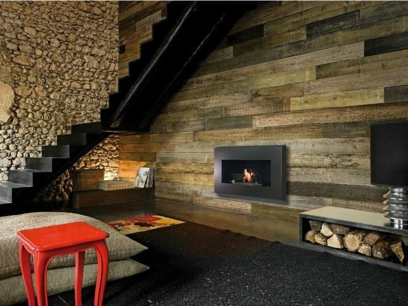 Salones con chimenea 65 ideas ardientes - Chimeneas de pared modernas ...