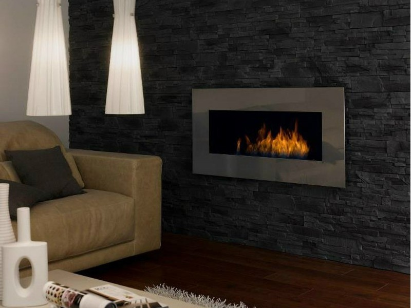 Salones con chimenea 65 ideas ardientes - Biochimenea de pared ...