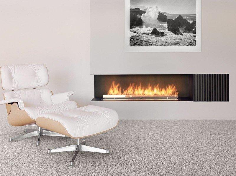 salones con chimenea modernos sillon blanco ideas