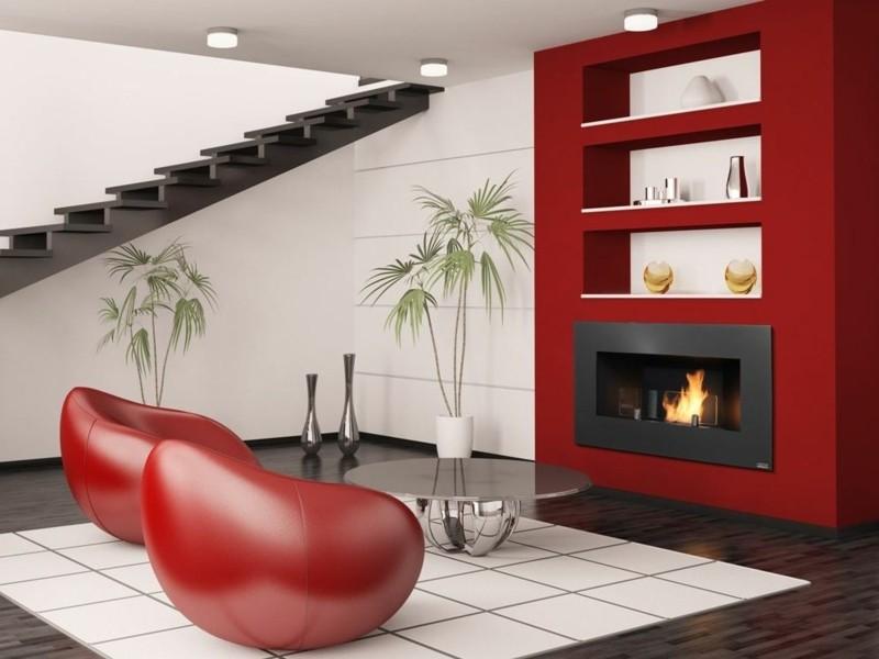 salones chimenea modernos sillones rojos ideas