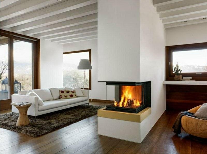 salones chimenea modernos sofa blanca mesa madera ideas