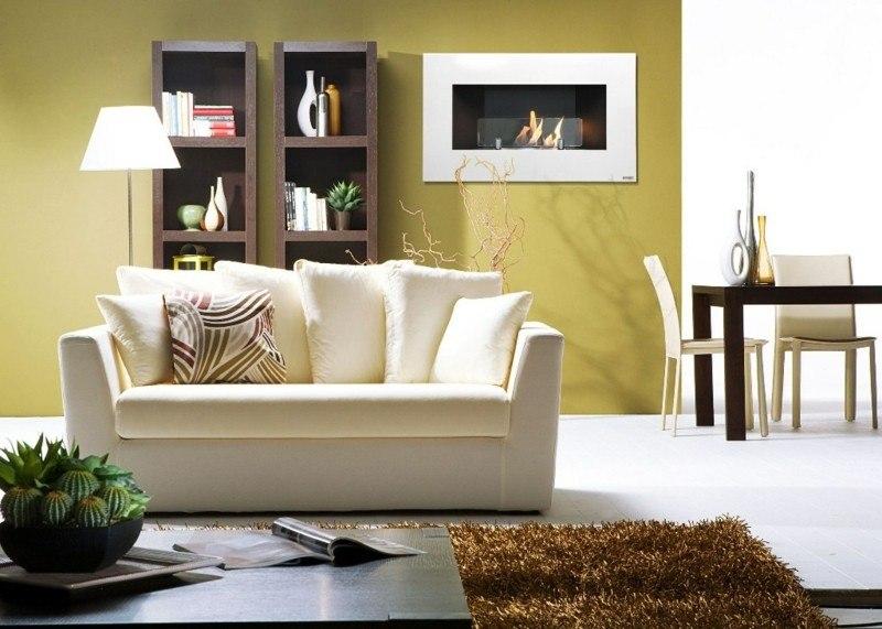 salones chimenea modernos sofa blanca ideas