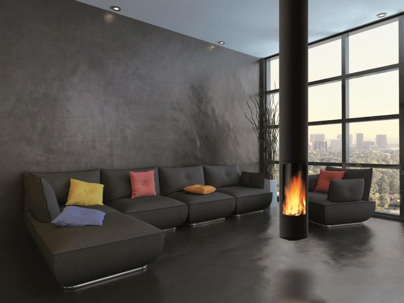 salones chimenea modernos sofa grande negra ideas