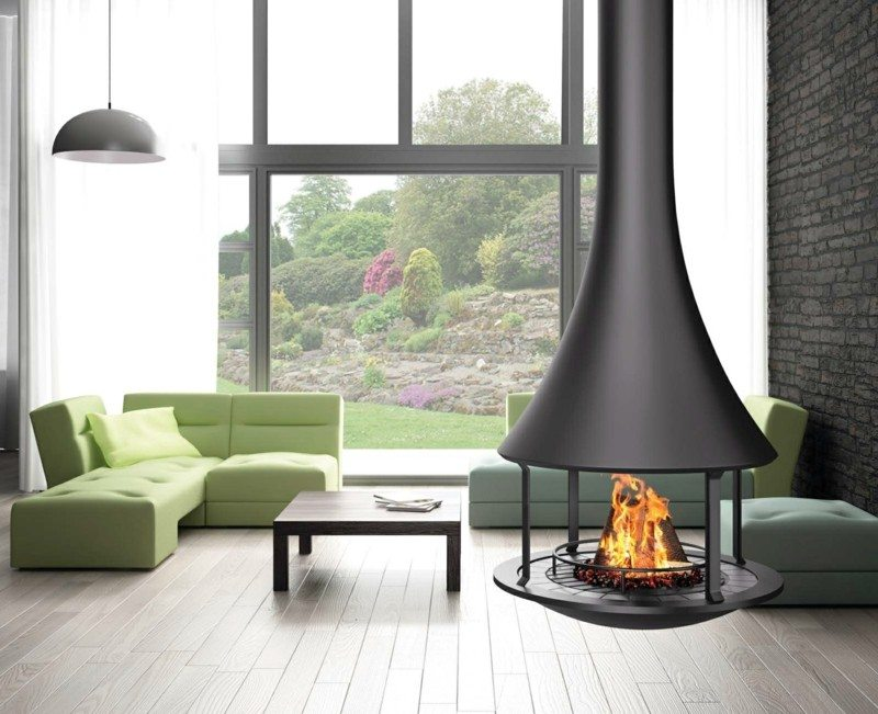 salones chimenea modernos sofa verde ideas