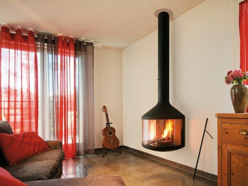 salones chimenea modernos toques rojo ideas