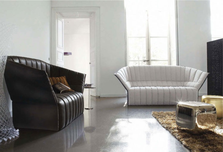 salones decoracion diseno sofa negro blanco ideas