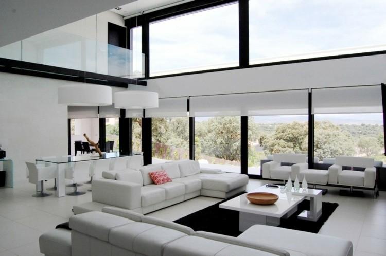 salones diseño abierto decoracion blanco cristales