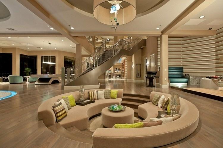 salones diseño abierto decoracion madera led
