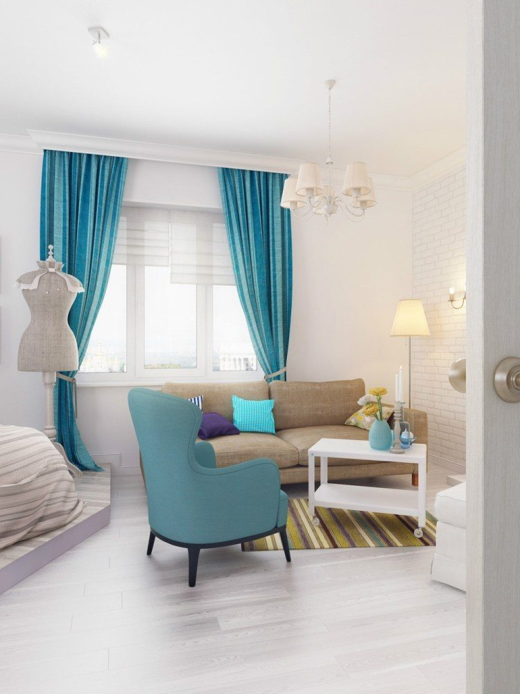 salones estetica estilo moderno cortina azul ideas