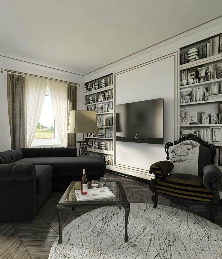 salon estetica estilo moderno muebles negros ideas
