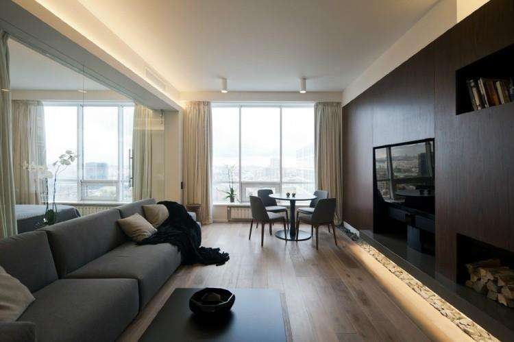 salon estetica estilo moderno pared madera oscura ideas