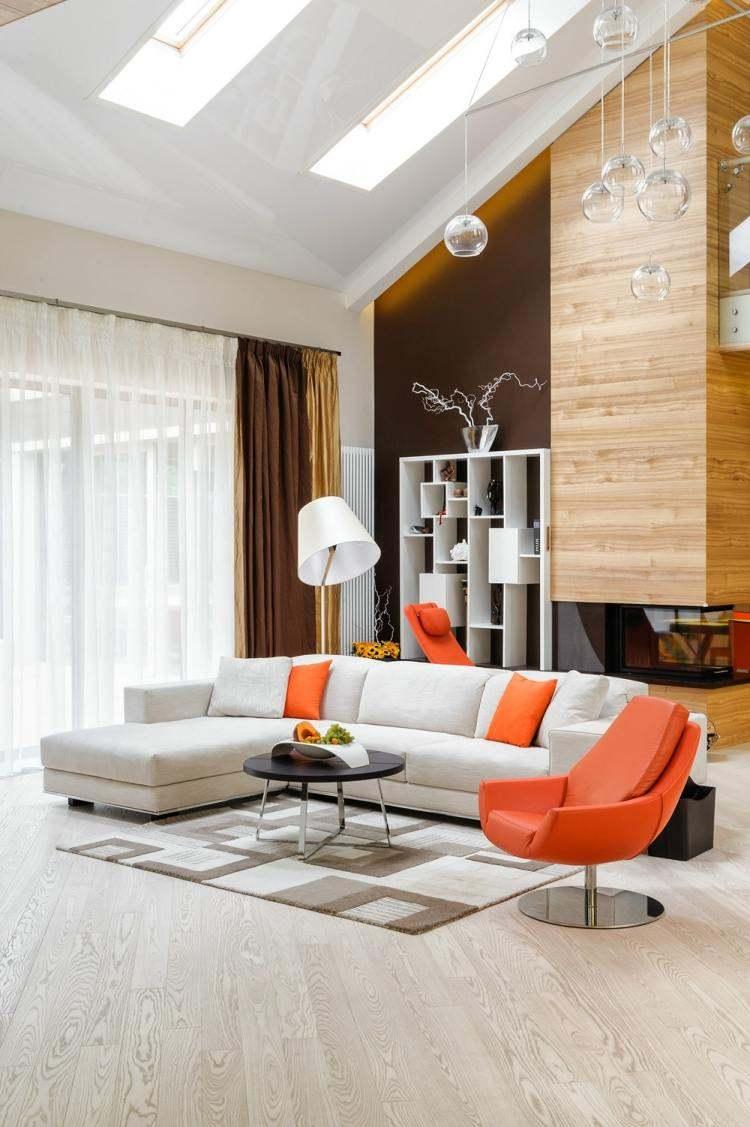 salon estetica estilo moderno sillon naranja ideas