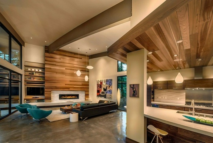 salones modernos con chimenea integrada