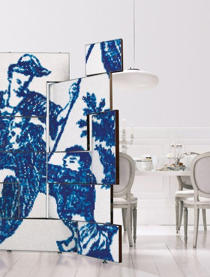 separador ambientes mosaico blanco azul ideas