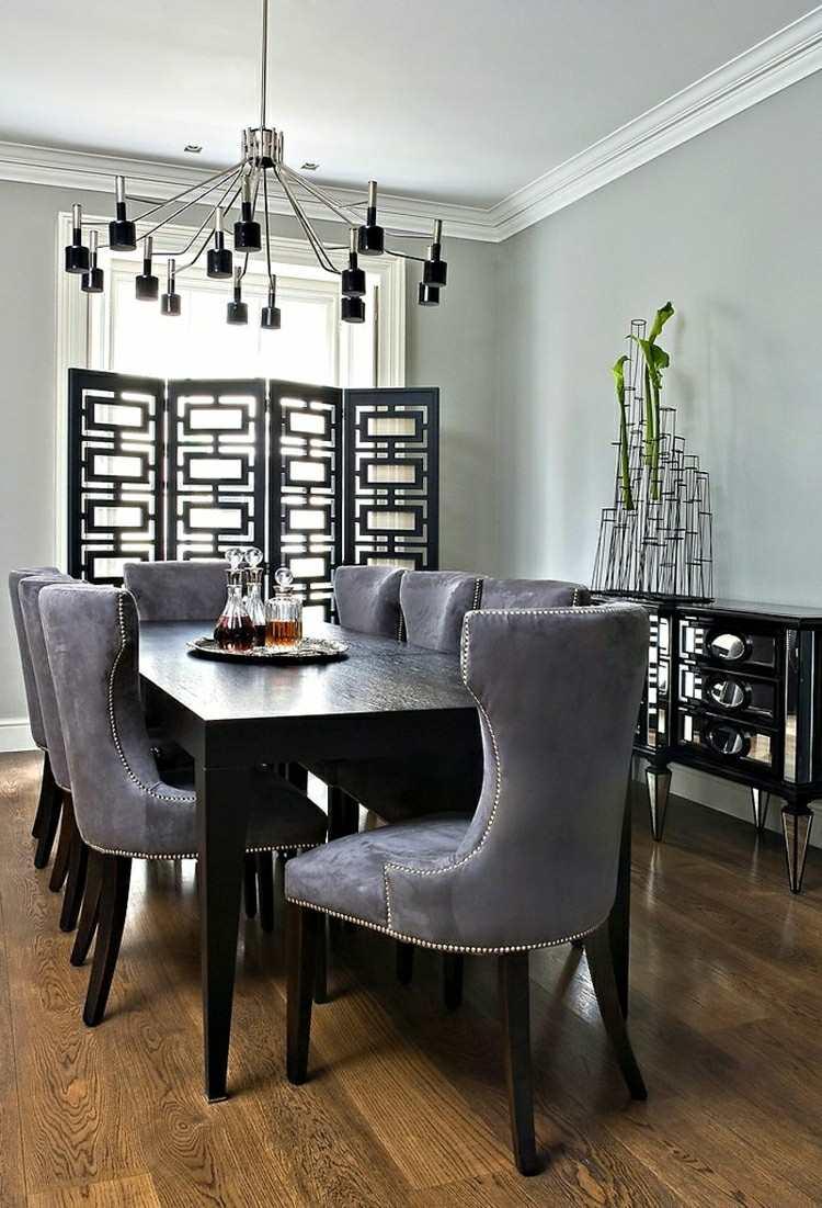 Muebles de comedor de colores oscuros 50 ideas for Sillas de comedor tapizadas en gris