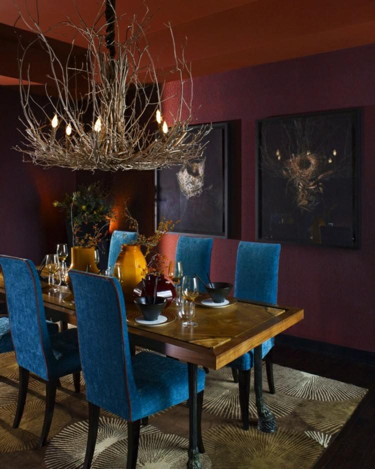 sillas comedor terciopelo azul
