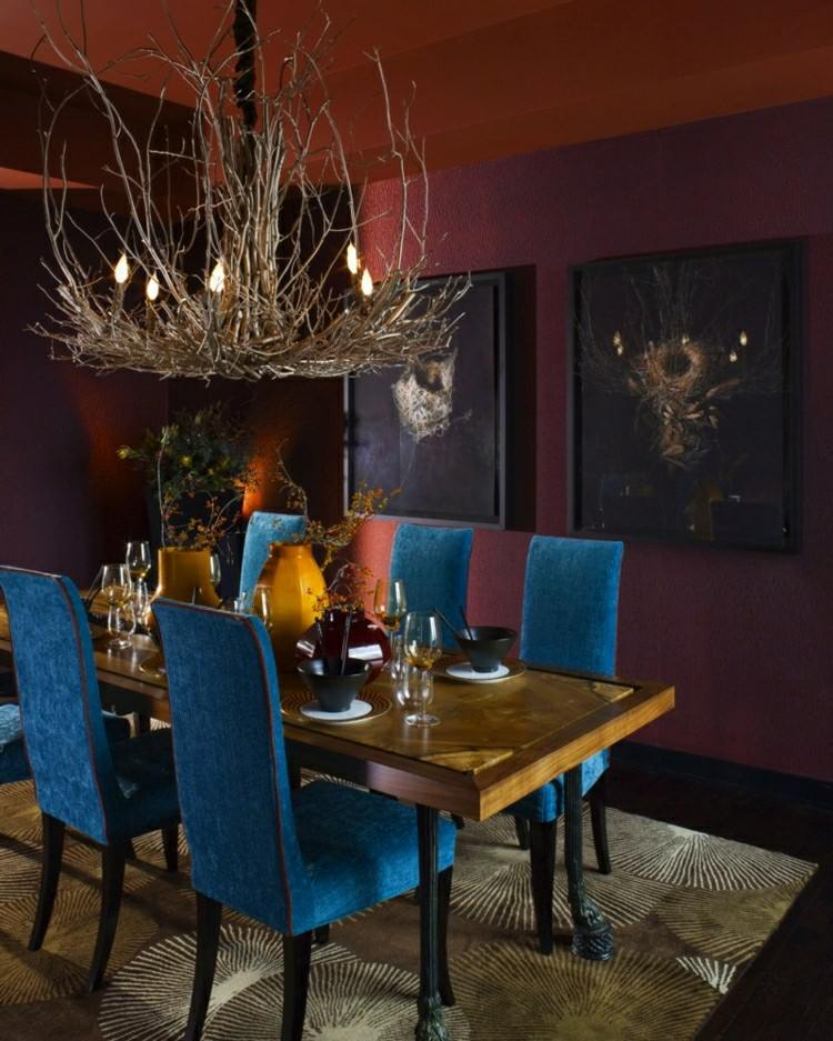 Muebles de comedor de colores oscuros 50 ideas - Tapices para sillas de comedor ...