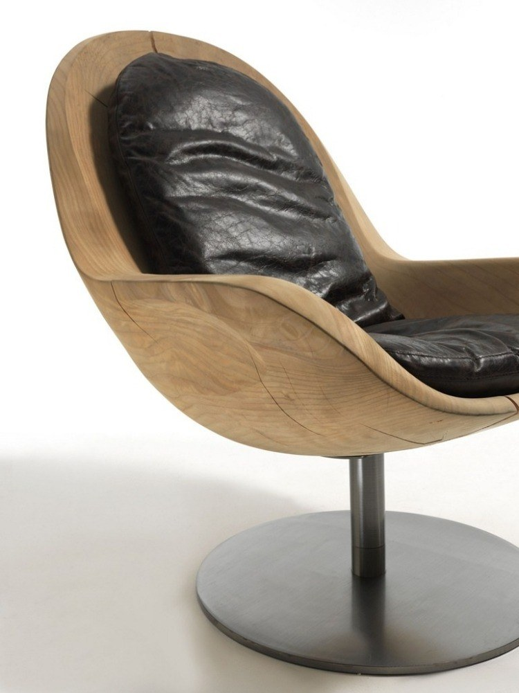 sillon madera acolchado piel negra