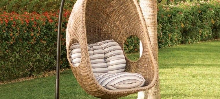 sillón colgante diseño mimbre