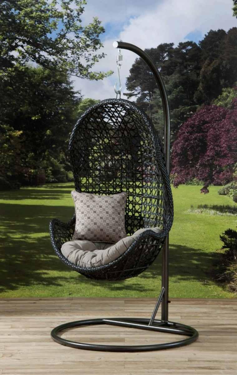 silla colgante color negro